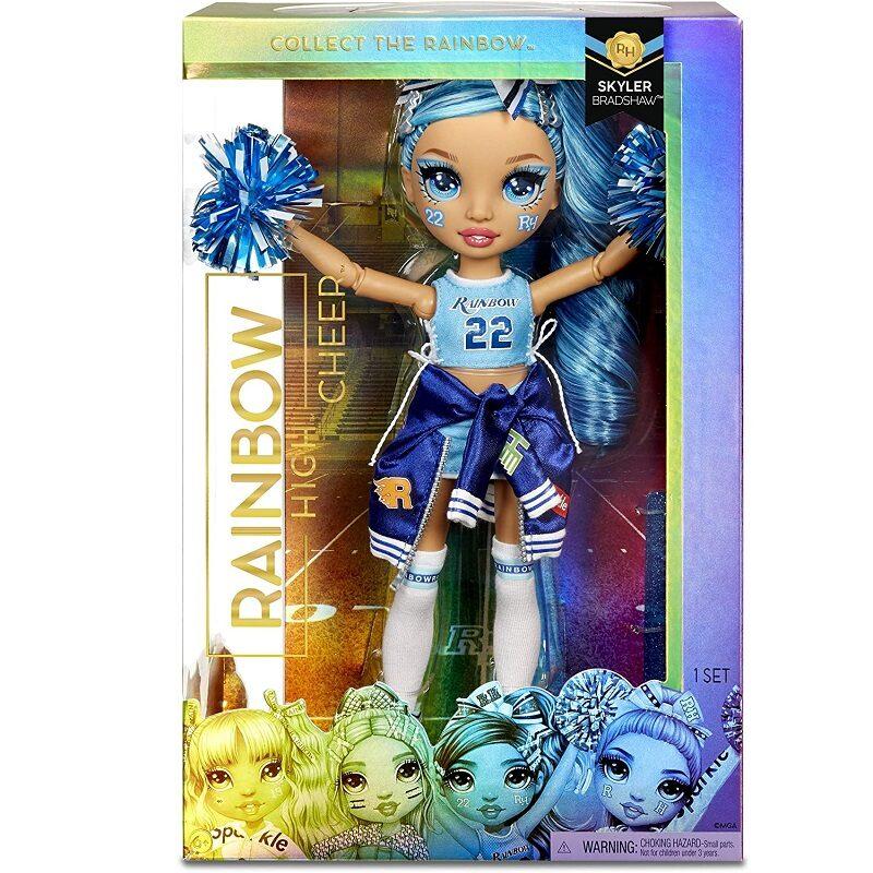 MGA 572077 - Rainbow Surprise Cheer Rainbow High Skyler Bradshaw – zila varavīksnes lelle