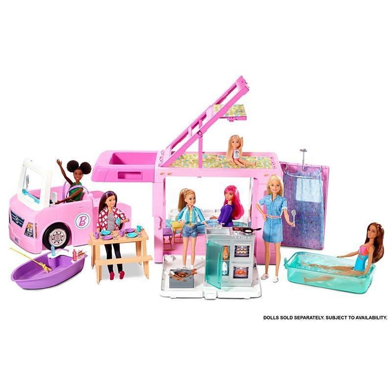Mattel GHL93 Barbie 3in1 Dream Camper mašīna ar baseinu un laivu, 60 aksesuāri
