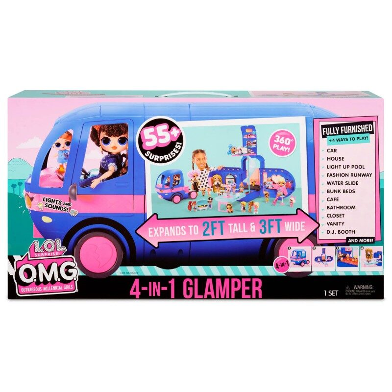 MGA 569459 - L.O.L. Surprise! O.M.G. 4-in-1 Glamper Fashion Camper, 55+ Surprises (Electric Blue) lol kemperis, glemperis