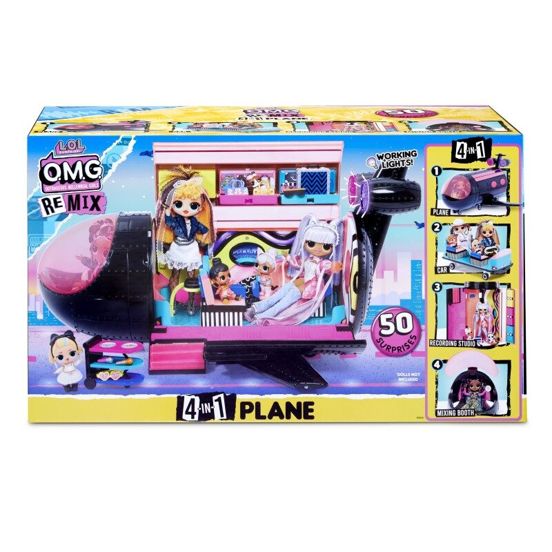 MGA 571339 - L.O.L. Surprise! O.M.G. Remix 4in1 Plane Playset Transforms - 50 Surprises, lol lidmašīna