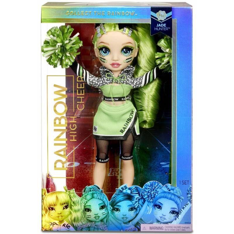 MGA 572060 - Rainbow Surprise Cheer Rainbow High Jade Hunter – zaļa varavīksnes lelle
