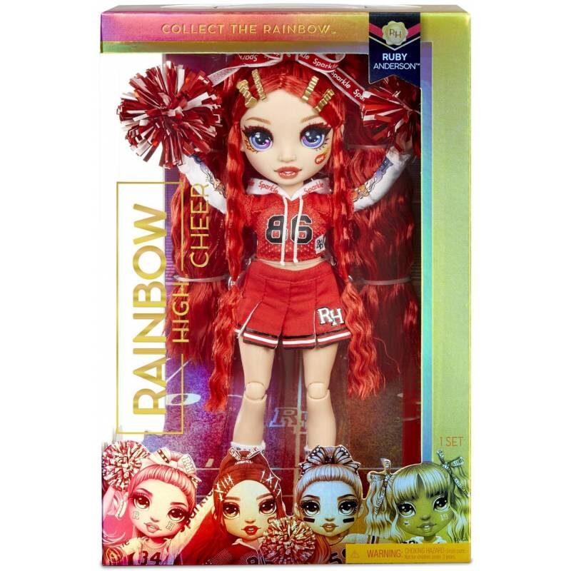 MGA 572039 - Rainbow Surprise Cheer Rainbow High Ruby Anderson – sarkana varavīksnes lelle