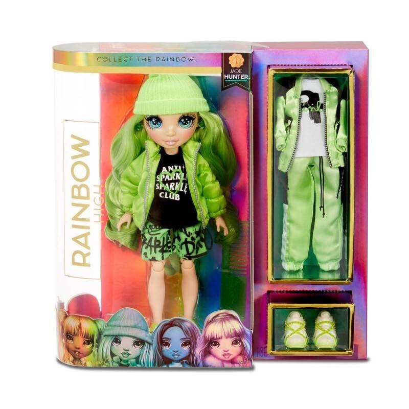 MGA 569664 - Rainbow Surprise Rainbow High Jade Hunter – zaļa varavīksnes lelle ar 2 kostīmiem