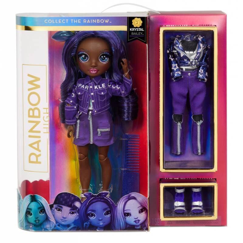 MGA 572114 - Rainbow Surprise Rainbow High Krystal Bailey – violeta varavīksnes lelle ar 2 kostīmiem