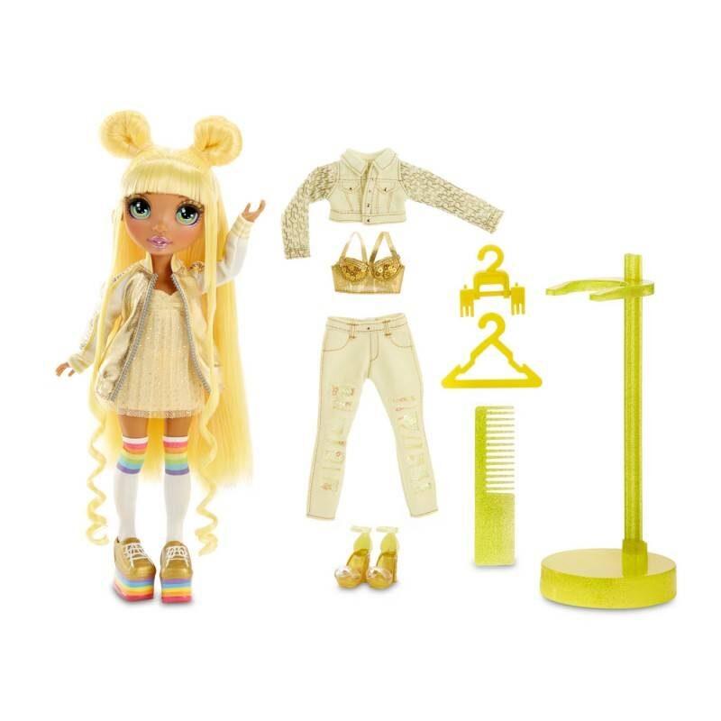 MGA 569626 - Rainbow Surprise Rainbow High Sunny Madison – dzeltena varavīksnes lelle ar 2 kostīmiem