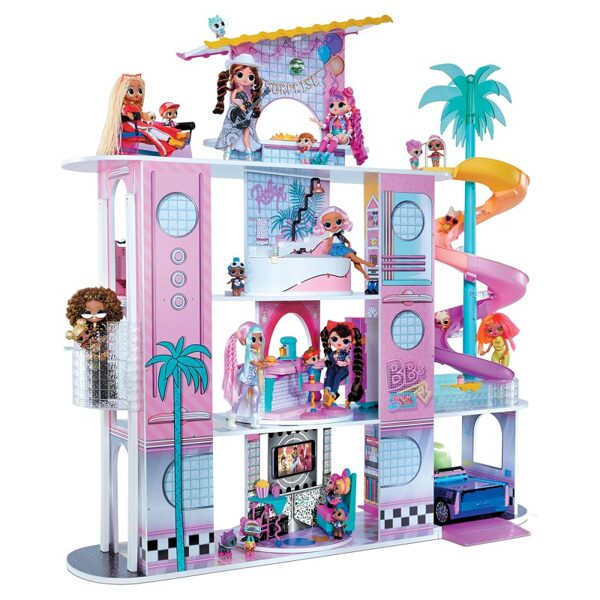 MGA 576747 - L.O.L. Surprise! OMG House of Surprises – New Real Wood Doll House with 85+ Surprises lol māja pārsteigumi