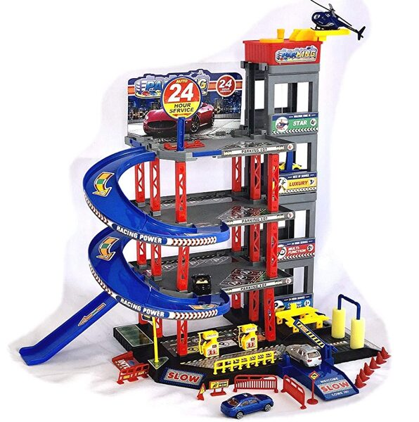 Car Park Garage ar 4 mašīnām un helikopteri Play Set with Petrol Station, Lift, Car Wash and Workshop