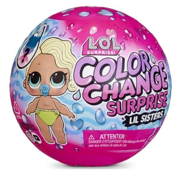 MGA 576327 - LOL Surprise Color Change Lil Sisters krāsu mainoša lellīte ar 5 pārsteigumiem lol